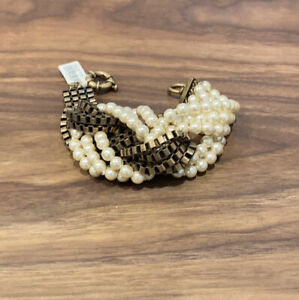 J.Crew Multi Strand Thick Knot Brass And Faux Pearls Bracelet. NWT