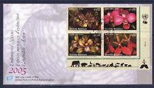 c/ ONU enveloppe espèce menacées d'extinction  fleurs orchidées 2005  euro