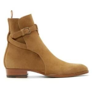 US5-12 Mens Genuine Leather Suede Chelsea Boots Buckle Shoes Ankle Boots Slip on