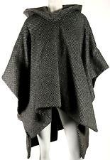 DELPOZO $2,950 Gray Spotted Alpaca Wool Hooded Cape Coat L