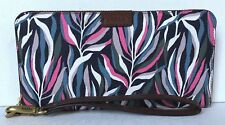 New Fossil Emma Large RFID Zip Clutch Wallet Sea Pink