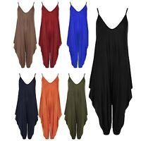 Women Baggy Strappy Plain Ruched Ladies VNeck Drape Plus Size Playsuit Jumpsuits