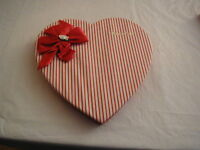 VINTAGE FANNIE MAY VALENTINE RED STRIPE PADDED HEART SHAPE CANDY BOX SATIN BOW
