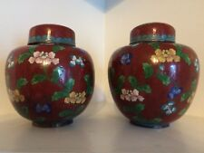 Antique Chinese Cloisonne Ginger Jar Pair