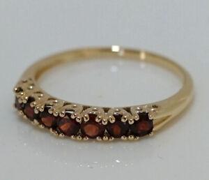 R302 Genuine 9K, 10K, 18K Real Gold Natural Garnet 7-stone Half- Eternity Ring