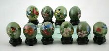 """Vintage Set 10 Hand Painted 1 1/2"""" Jade Eggs Wood Stands Chinese Asian Art Birds"""
