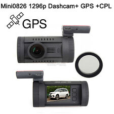 Mini 0826 Ambarella A7LA50 HD 1296P Car GPS Dash Cam Camera Recorder DVR+CPL