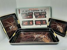 Asahi Trading Co. 3 Pc Nested Lacquerware Tray Set Floral 75-1744