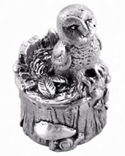 Christening Gift Pewter Trinket Box Owl On Tree First Tooth Box