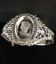 Whiting & Davis Vintage Intaglio Clear Cameo Bracelet