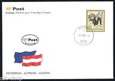 AUSTRIA 1 BUSTA PRIMO GIORNO FDC STORIE E LEGGENDE 2000