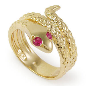 18k Yellow Gold Snake Ruby Eye Serpent Ring Size 5 to 10 $1479.00