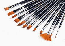 12Pcs Professional Artists Watercolor Acrylic Oil Nylon Hair Paint Brush Useful