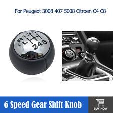 BLACK & CHROME Gear Knob - Peugeot 307 308 3008 407 with Shift Numbers 1-tru-6-R