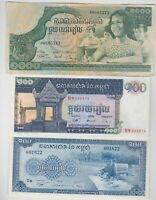 6 DIFFERENT BANKNOTES FROM CAMBODIA IN FINE TO NEAR MINT CONDITION