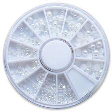 Halbperlen Rondell Weiss rund 4 Größen - Perlen NailArt Modellage Schmuck Strass