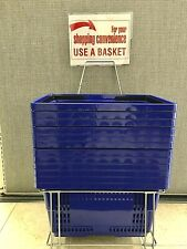 """Shopping Baskets """"Jumbo Size"""" Set Of 12 With Stand/Sign Blue"""