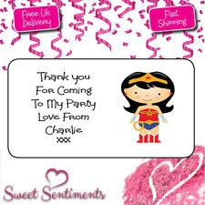 Personalised Wonder Woman Superhero Birthday Party Thank You Stickers Pk 24
