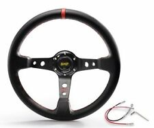 "OMP Red 350mm 3"" Deep Dish PVC Racing Steering Wheel Sport JDM Drift Race"