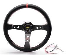"OMP Red 350mm 3"" Deep Dish PVC Racing Steering Wheel Sport JDM Drift Race"