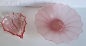 2 vintage pink glass dishes, bon bon dish/trinket dish #S2