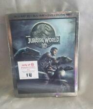 JURASSIC WORLD 3D BLU RAY DVD + DIGITAL HD 3 DISC + LENTICULAR SLIPCOVER (NEW)