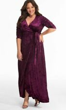Kiyonna Women's Dress Maxi Size 5X Cara Style Maxi Purple True Wrap Made USA