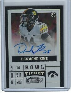 DESMOND KING IOWA HAWKEYES PANINI BOWL CONTENDERS AUTO AUTOGRAPH CARD #38/99