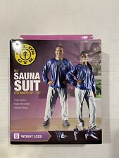 """New in Box Golds Gym Adult Sauna Suit Gray Blue M/L Fits Waist Sizes 30"""" to  38"""""""