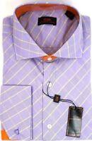Men's Dress Shirt STEVEN LAND Spread Collar French Cuffs 100% Cotton Lilac/Green