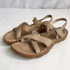 Bogs Womens 7.5 38 Todos Beige Distressed Leather Ankle Strap Sandals Shoes