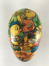 "Vintage Paper Mache Easter Egg Candy Container Germany 6"" chicks musicians"