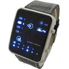 Blue LED Binary Digital Black Leather Fashion Sport Mens Womens Wrist Watch Gift