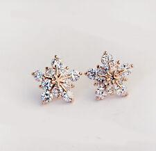 Fashion Crystal Rhinestone Snowflake Star Ear Stud Earring Wedding Bridal Gift