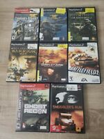 Lot of 8 PlayStation 2 (PS2) War Games Socom, Ghost Recon, Battlefield COMPLETE