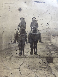 Antique Tintype Photo Cowboys On Horses Riding Outdoors