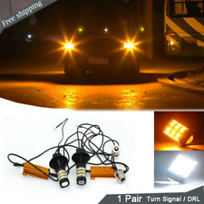 1156 BA15S Switchback LED Turn Signal / DRL Amber White Color Light Bulb For BMW