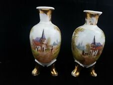 """RARE ANTIQUE EARLY """"HAND PAINTED"""" PORCELAIN VASES WITH TRIPOD FEET"""