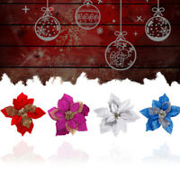 2pcs Christmas Party Poinsettia Glitter Flower Gold Bow Decoration 20CM
