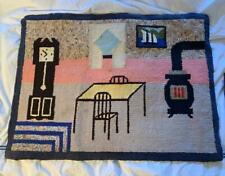 Antique Hooked Rug 19th Century Kitchen Charming Hand Made American Primitive