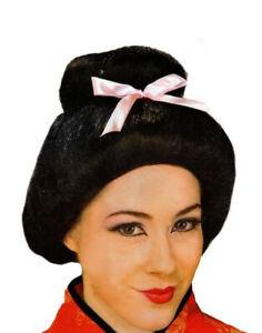Deluxe Adult Black Chinese Geisha Samurai Costume Wig