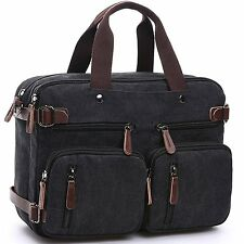 CESU Laptop Bag Hybrid Briefcase Backpack Messenger Bag for Men Women BLACK