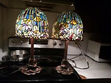 "Vintage Pair 22"" Tiffany Style Lamp Stained Glass Roses Motive Heavy Base"