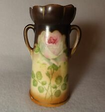 Antique Czech Beautiful Handle Vase Roses Bud Vase Porcelain