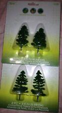 🚂4 Miniature Fairy Garden Model Diorama Christmas Pine Trees w/powder 2 Sets(2)