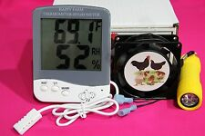 Incubator Forced Air Fan Kit  + Digital Thermometer/Hygrometer +Free Egg Candler