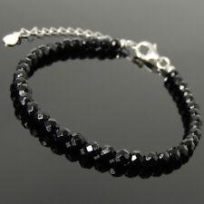 Men's Women Bracelet 4mm Faceted Black Onyx 925 Sterling Silver Clasp Link 1234