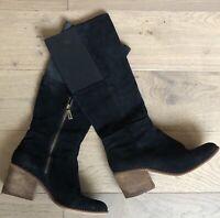 SPLENDID Women's Black Kassie Wood Heel Leather/Suede Boots Size 8 M SHIPS FREE