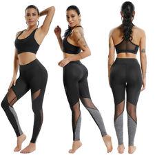 Womens Capri Leggings Tummy Control Workout Running Sports Gym Yoga Mesh Pants
