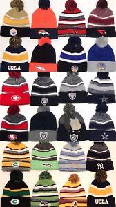 POM POM BEANIES Logo Sport Football TEAM SKI Cap KNIT Hat Winter Wear ONE SIZE